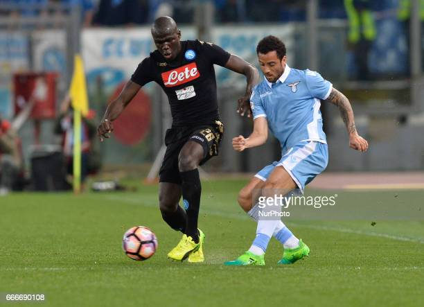 Felipe Anderson Kalidou Koulibaly during the Italian Serie A football match between SS Lazio and AC Napoli at the Olympic Stadium in Rome on april 09...
