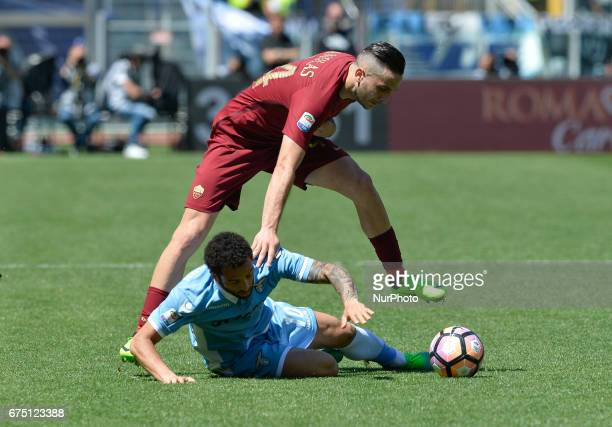 Felipe Anderson Kostas Manolas during the Italian Serie A football match between AS Roma and SS Lazio at the Olympic Stadium in Rome on april 30 2017
