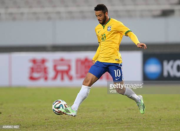 Felipe Anderson of Brazil drives the ball during the match between Brazil U22 and Australia U22 on day one of the 'Wuhan City of Automobile'...