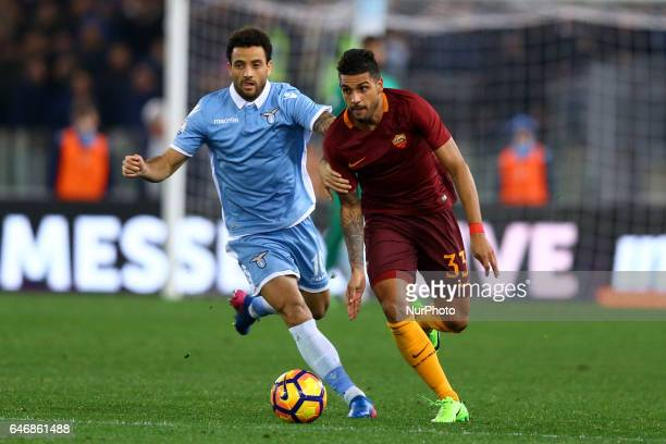 Felipe Anderson of Lazio and Emerson Palmieri of Roma during the Italian TIM Cup 1st leg semifinal football match on March 1 2017 at the Olympic...