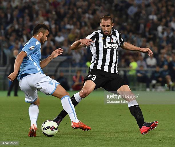 Felipe Anderson of Lazio and Giorgio Chiellini of Juventus in action during the TIM Cup final match between SS Lazio and Juventus FC at Olimpico...