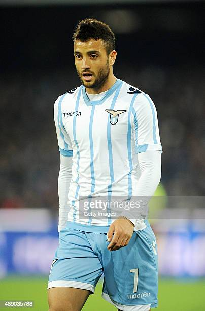 Felipe Anderson of Lazio in action during the Tim cup match between SSC Napoli and SS Lazio at the San Paolo Stadium on April 8 2015 in Naples Italy