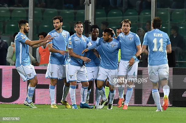 Felipe Anderson of Lazio is celebtates after scoring his team's third goal during the Serie A match between US Citta di Palermo and SS Lazio at...