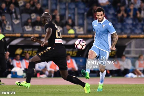 Felipe Anderson of Lazio is challenged by Kalidou Koulibaly of Napoli during the Serie A match between Lazio and Napoli at Stadio Olimpico Rome Italy...