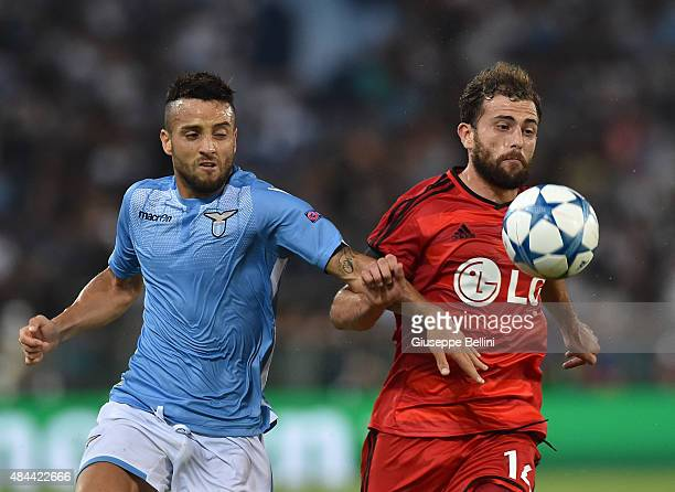 Felipe Anderson of SS Lazio and Admir Mehmedi of Bayer Leverkusen in action during the UEFA Champions League qualifying round play off first leg...