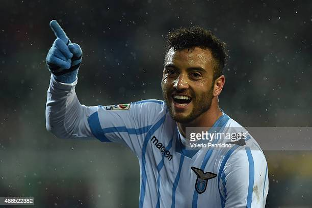 Felipe Anderson of SS Lazio celebrates after scoring his second goal during the Serie A match between Torino FC and SS Lazio at Stadio Olimpico di...