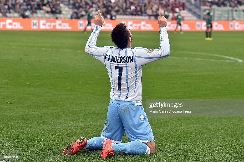 <a gi-track='captionPersonalityLinkClicked' href=/galleries/search?phrase=Felipe+Anderson&family=editorial&specificpeople=7358255 ng-click='$event.stopPropagation()'>Felipe Anderson</a> # 7 of SS Lazio celebrates after scoring the opening goal during the Serie A match between US Sassuolo Calcio and SS Lazio on March 1, 2015 in Reggio nell'Emilia, Italy.