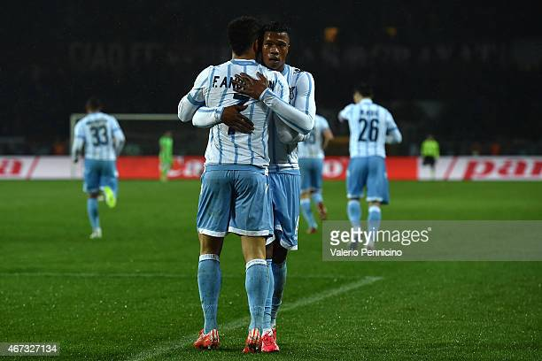 Felipe Anderson of SS Lazio celebrates after scoring the opening goal with team mate Balde Diao Keita during the Serie A match between Torino FC and...