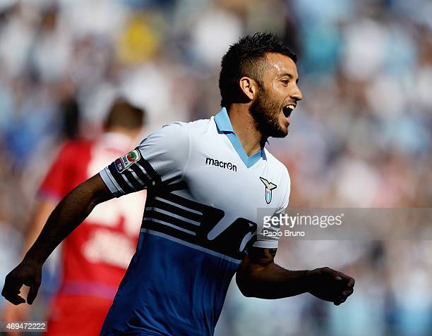 Felipe Anderson of SS Lazio celebrates after scoring the team's fourth goal during the Serie A match between SS Lazio and Empoli FC at Stadio...