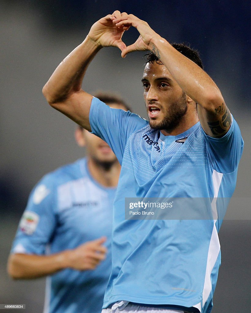 <a gi-track='captionPersonalityLinkClicked' href=/galleries/search?phrase=Felipe+Anderson&family=editorial&specificpeople=7358255 ng-click='$event.stopPropagation()'>Felipe Anderson</a> of SS Lazio celebrates after scoring the team's second goal during the Serie A match between SS Lazio and Genoa CFC at Stadio Olimpico on September 23, 2015 in Rome, Italy.