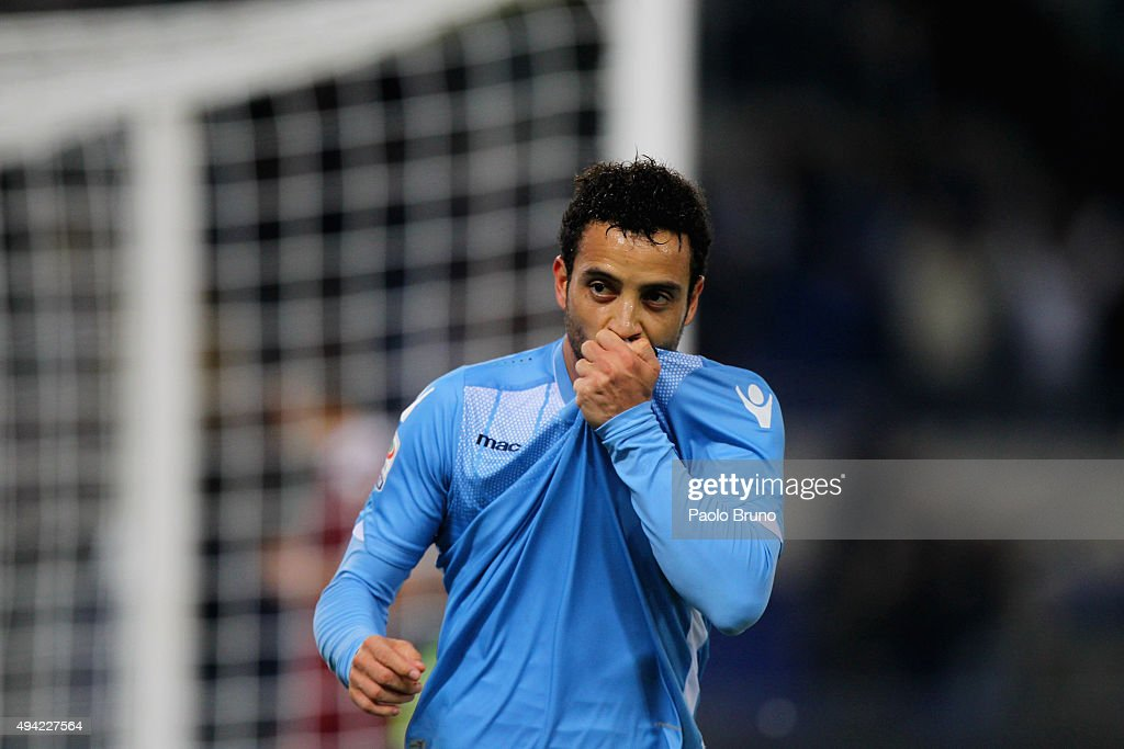 <a gi-track='captionPersonalityLinkClicked' href=/galleries/search?phrase=Felipe+Anderson&family=editorial&specificpeople=7358255 ng-click='$event.stopPropagation()'>Felipe Anderson</a> of SS Lazio celebrates after scoring the team's second goal during the Serie A match between SS Lazio and Torino FC at Stadio Olimpico on October 25, 2015 in Rome, Italy.