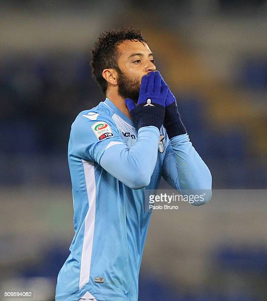 Felipe Anderson of SS Lazio celebrates after scoring the team's third goal during the Serie A match between SS Lazio and Hellas Verona FC at Stadio...