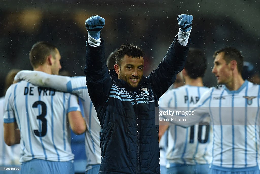 <a gi-track='captionPersonalityLinkClicked' href=/galleries/search?phrase=Felipe+Anderson&family=editorial&specificpeople=7358255 ng-click='$event.stopPropagation()'>Felipe Anderson</a> of SS Lazio celebrates victory at the end of the Serie A match between Torino FC and SS Lazio at Stadio Olimpico di Torino on March 16, 2015 in Turin, Italy.