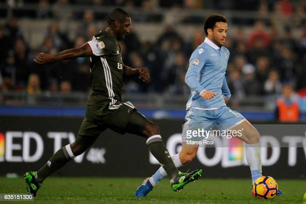 Felipe Anderson of SS Lazio competes for the ball with Cristian Zapata of AC Milan during the Serie A match between SS Lazio and AC Milan at Stadio...