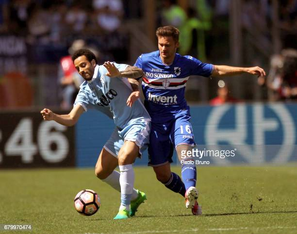 Felipe Anderson of SS Lazio competes for the ball with Patrik Schick of UC Sampdoria during the Serie A match between SS Lazio and UC Sampdoria at...