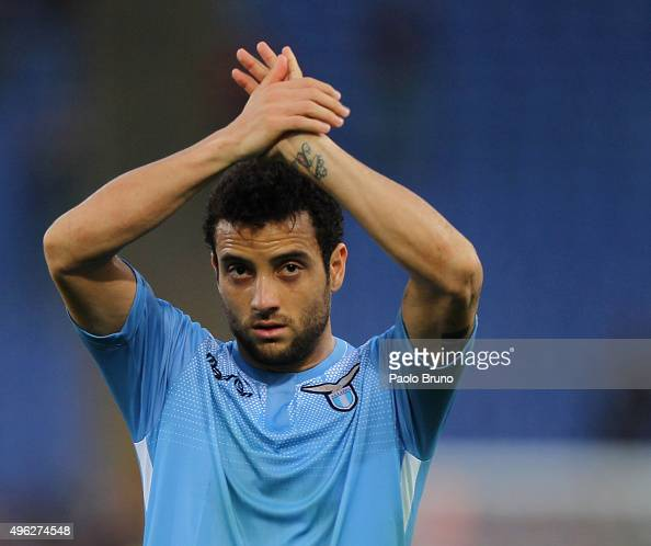 Felipe Anderson of SS Lazio greets the fans after the Serie A match between AS Roma and SS Lazio at Stadio Olimpico on November 8 2015 in Rome Italy