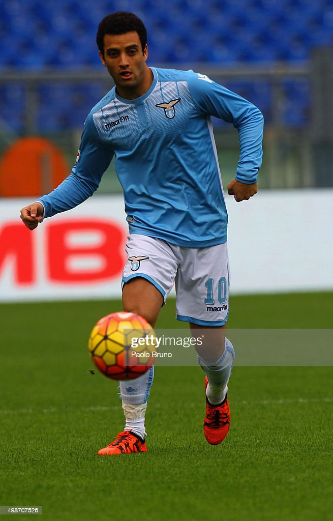 <a gi-track='captionPersonalityLinkClicked' href=/galleries/search?phrase=Felipe+Anderson&family=editorial&specificpeople=7358255 ng-click='$event.stopPropagation()'>Felipe Anderson</a> of SS Lazio in action during the Serie A match between SS Lazio and US Citta di Palermo at Stadio Olimpico on November 22, 2015 in Rome, Italy.