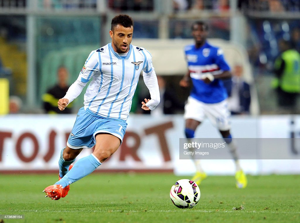 <a gi-track='captionPersonalityLinkClicked' href=/galleries/search?phrase=Felipe+Anderson&family=editorial&specificpeople=7358255 ng-click='$event.stopPropagation()'>Felipe Anderson</a> of SS Lazio in action during the Serie A match between UC Sampdoria and SS Lazio at Stadio Luigi Ferraris on May 16, 2015 in Genoa, Italy.