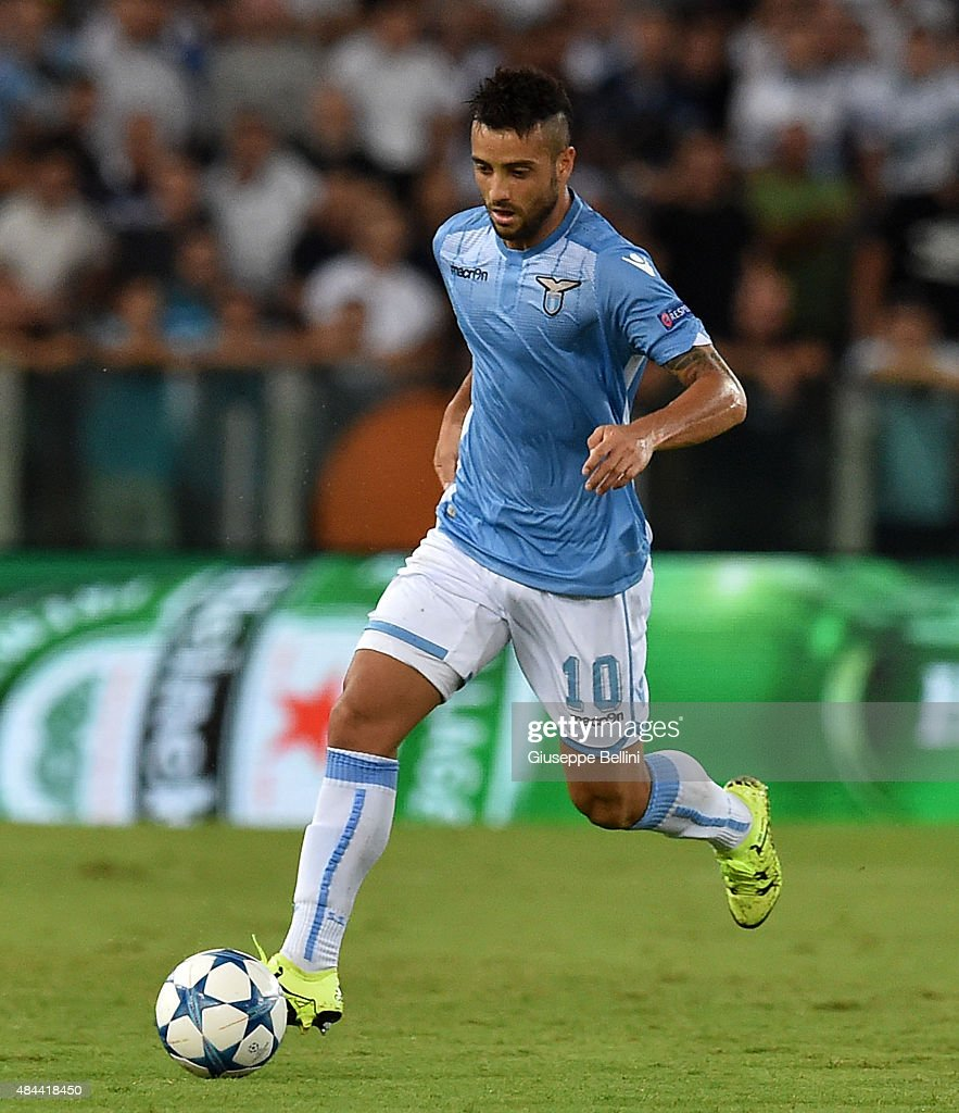 <a gi-track='captionPersonalityLinkClicked' href=/galleries/search?phrase=Felipe+Anderson&family=editorial&specificpeople=7358255 ng-click='$event.stopPropagation()'>Felipe Anderson</a> of SS Lazio in action during the UEFA Champions League qualifying round play off first leg match between SS Lazio and Bayer Leverkusen at Olimpico Stadium on August 18, 2015 in Rome, Italy.