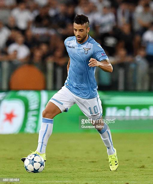 Felipe Anderson of SS Lazio in action during the UEFA Champions League qualifying round play off first leg match between SS Lazio and Bayer...