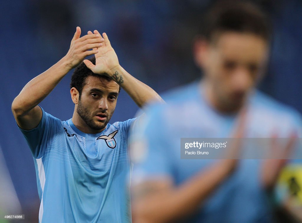 <a gi-track='captionPersonalityLinkClicked' href=/galleries/search?phrase=Felipe+Anderson&family=editorial&specificpeople=7358255 ng-click='$event.stopPropagation()'>Felipe Anderson</a> of SS Lazio reacts after the Serie A match between AS Roma and SS Lazio at Stadio Olimpico on November 8, 2015 in Rome, Italy.