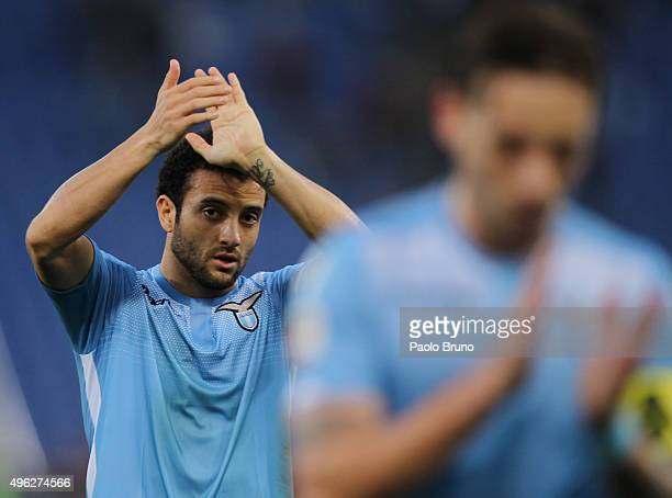 Felipe Anderson of SS Lazio reacts after the Serie A match between AS Roma and SS Lazio at Stadio Olimpico on November 8 2015 in Rome Italy