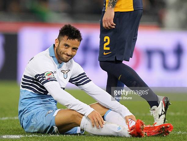 Felipe Anderson of SS Lazio reacts during the Serie A match between SS Lazio and Hellas Verona FC at Stadio Olimpico on March 22 2015 in Rome Italy