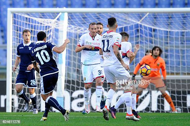 Felipe Anderson of SS Lazio scores a opening goal during the Serie A match between SS Lazio and Genoa CFC at Stadio Olimpico on November 20 2016 in...