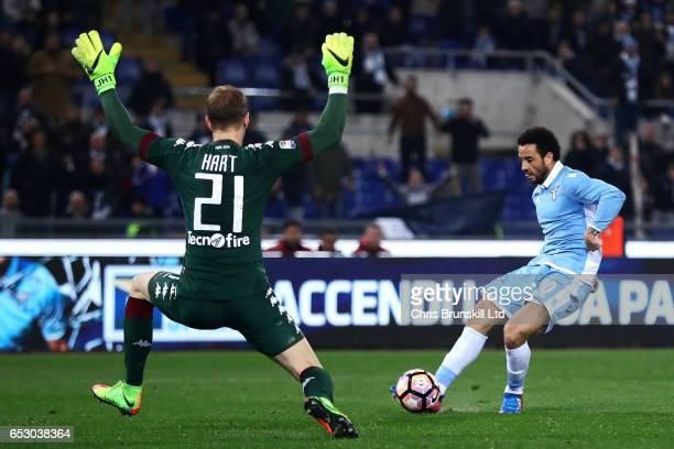 Felipe Anderson of SS Lazio scores his side's third goal past Joe Hart of FC Torino during the Serie A match between SS Lazio and FC Torino at Stadio...