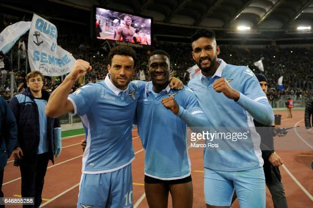 Felipe Anderson Quissanga Bastos and Fortuna Wallace of SS lazio celebrates a winner game after the TIM Cup match between SS Lazio and AS Roma at...