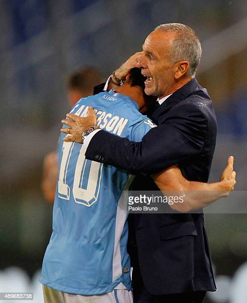 Felipe Anderson with his head coach Stefano Pioli of SS Lazio celebrates after scoring the team's second goal during the Serie A match between SS...