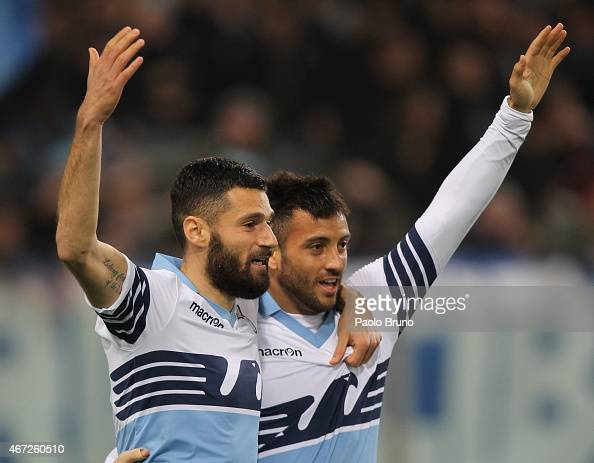 Felipe Anderson with his teammate Antonio Candreva of SS Lazio celebrates after scoring the opening goal during the Serie A match between SS Lazio...