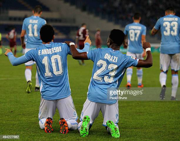 Felipe Anderson with his teammate Eddy Onazi of SS Lazio celebrates after scoring the team's second goal during the Serie A match between SS Lazio...