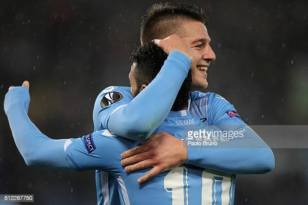 Felipe Anderson with his teammate Sergej Milinkovic of SS Lazio celebrates after scoring the team's second goal during the UEFA Europa League Round...