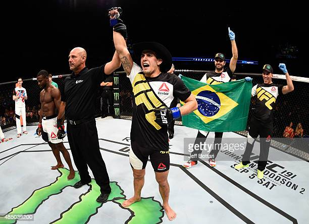 Felipe Arantes of Brazil celebrates after his submission victory over Yves Jabouin in their bantamweight bout during the UFC event at the SaskTel...