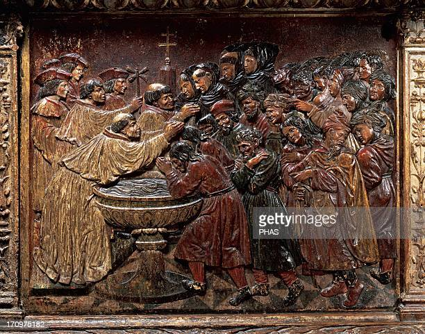 Felipe Bigarny Spanish architect and sculptor of Burgundian origin Relief depicting the baptism of the Moorish of the Kingdom of Granada Polychromed...