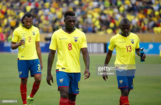 Felipe Caicedo of Ecuador and his teammates walk out of the field at halftime during a match between Ecuador and Brazil as part of FIFA 2018 World...