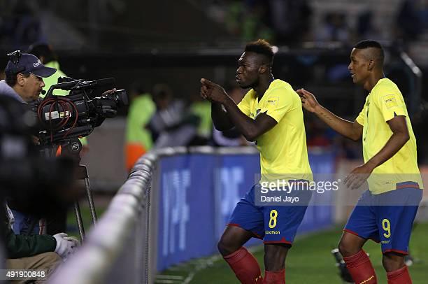 Felipe Caicedo of Ecuador celebrates after scoring the second goal during a match between Argentina and Ecuador as part of FIFA 2018 World Cup...