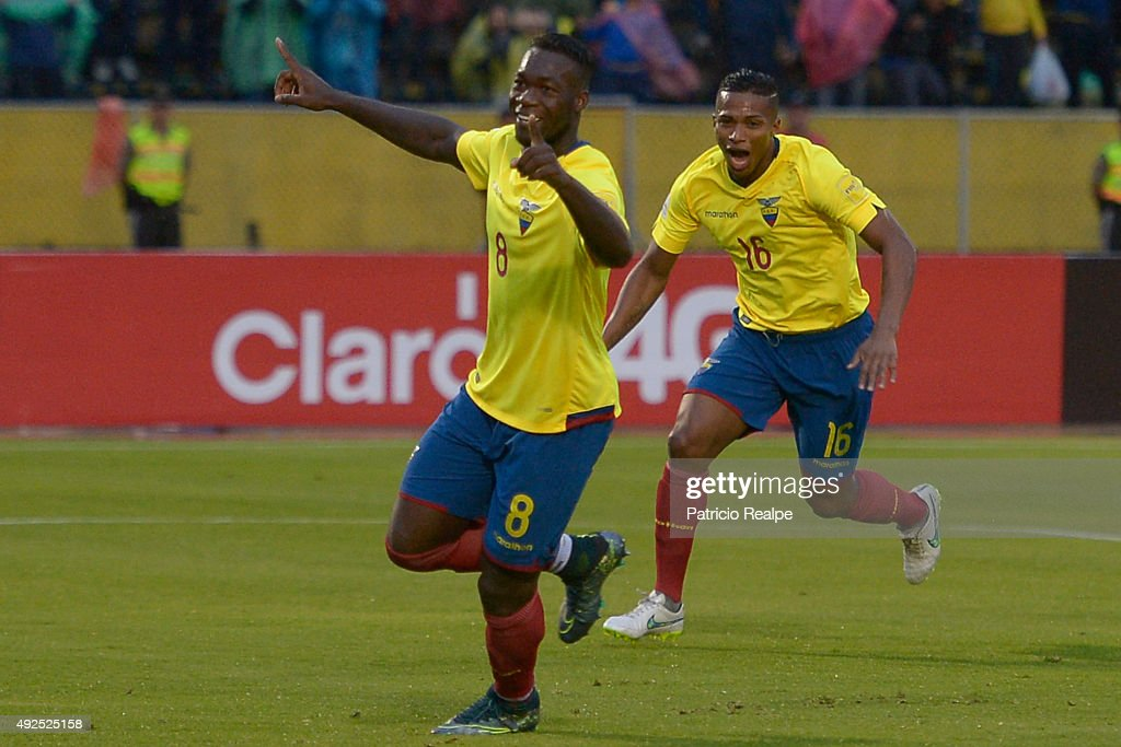 <a gi-track='captionPersonalityLinkClicked' href=/galleries/search?phrase=Felipe+Caicedo&family=editorial&specificpeople=3954399 ng-click='$event.stopPropagation()'>Felipe Caicedo</a> of Ecuador celebrates after scoring the second goal of his team during a match between Ecuador and Bolivia as part of FIFA 2018 World Cup Qualifier at Atahualpa Olympic Stadium on October 13, 2015 in Quito, Ecuador.