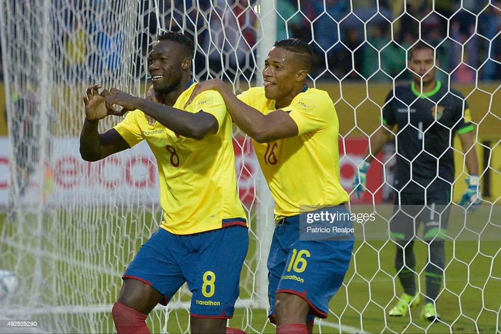 Felipe Caicedo of Ecuador celebrates with Antonio Valencia after scoring the second goal of his team through a penalty during a match between Ecuador and Bolivia as part of FIFA 2018 World Cup Qualifier at Atahualpa Olympic Stadium on October 13, 2015 in Quito, Ecuador.