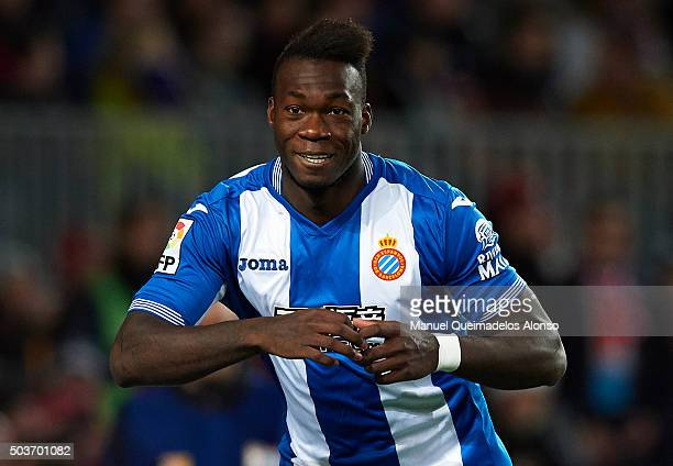 Felipe Caicedo of Espanyol celebrates scoring his team's first goal during the Copa del Rey Round of 16 match between FC Barcelona and Real CD...