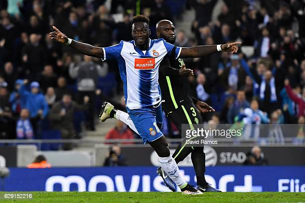 Felipe Caicedo of RCD Espanyol celebrates after scoring his team's first goal during the La Liga match between RCD Espanyol and Real Sporting de...