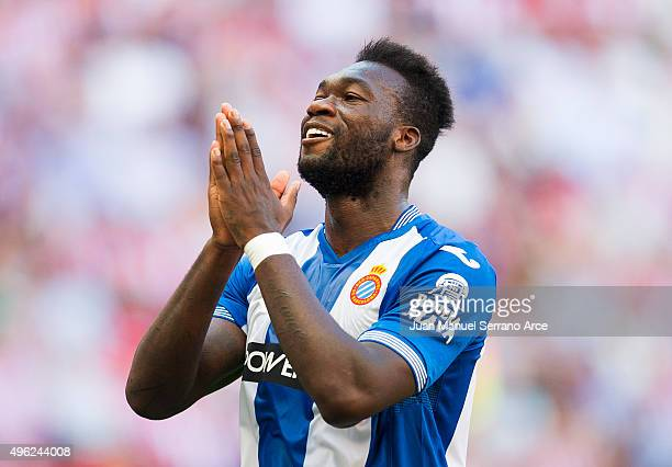Felipe Caicedo of RCD Espanyol reacts during the La Liga match between Athletic Club and RCD Espanyol at San Mames Stadium on November 8 2015 in...