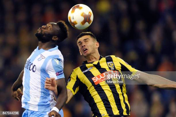 Felipe Caicedo of SS Lazio compete for the ball with Matthew Miazga of Vitesse during the UEFA Europa League group K match between Vitesse and SS...