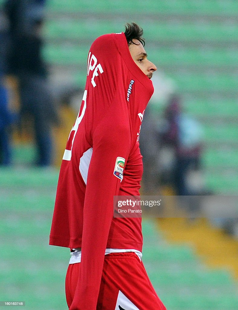 Felipe Dal Bello Dias of AC Siena looks dejected after the Serie A match between Udinese Calcio and AC Siena at Stadio Friuli on January 27, 2013 in Udine, Italy.
