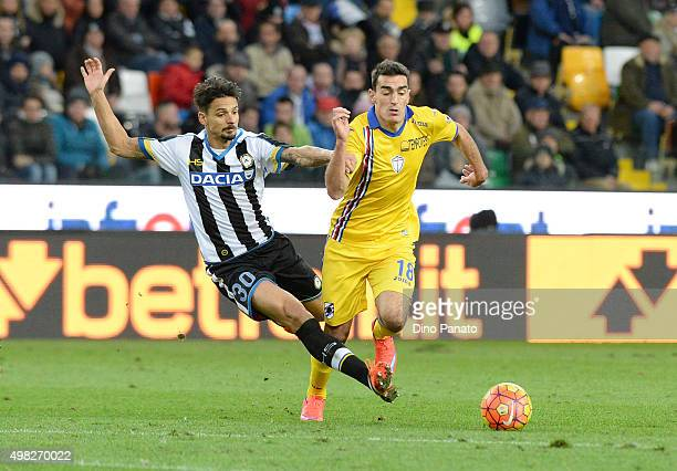 Felipe Dal Bello of Udinese Calcio competes with Lazaros Christodopulos of UC Sampdoria during the Serie A match between Udinese Calcio and UC...