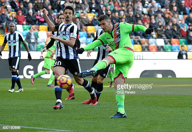 Felipe Dal Bello of Udinese Calcio competes with Marcello Trotta of FC Crotone during the Serie A match between Udinese Calcio and FC Crotone at...