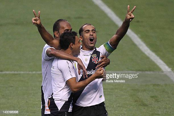 Felipe Eder Luis and Alecsandro of Vasco da Gama celebrate a scored goal during a match between Flamengo v Vasco da Gama as part of Semifinal Rio de...