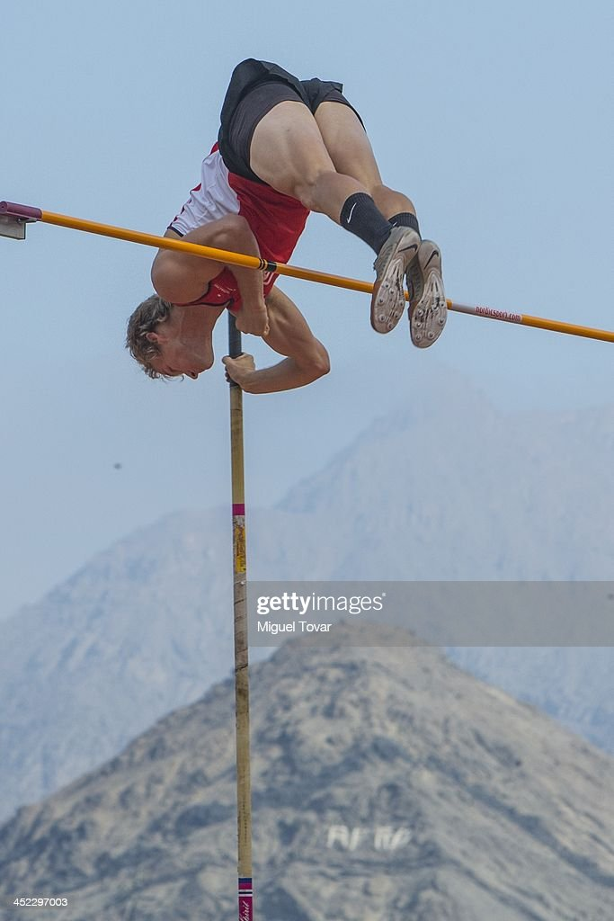 Felipe Fuentes of Chile competes in men's pole vault final event as part of the XVII Bolivarian Games Trujillo 2013 at Chan Chan Stadium on November 27, 2013 in Trujillo, Peru.