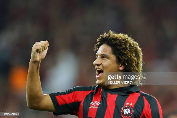 Felipe Gedoz of Brazil's Atletico Paranaense celebrates a goal scored against Paraguay's Deportivo Capiata during their Libertadores Cup football...